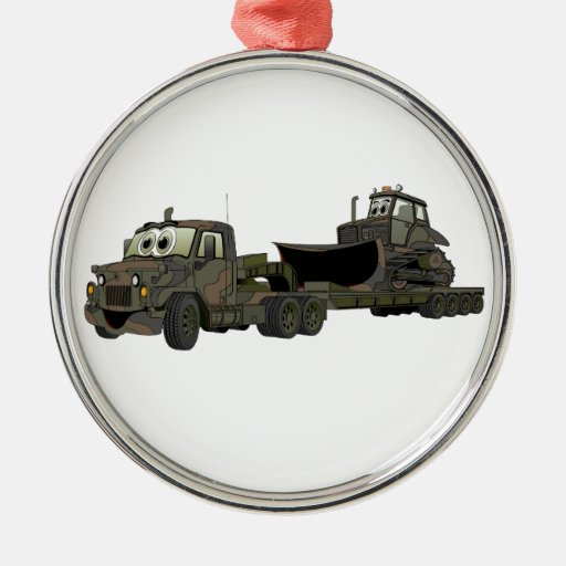 De los militares dibujo animado del plano de la adorno navideño redondo de metal