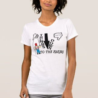 De los pulgares camiseta abajo (mujeres) playera