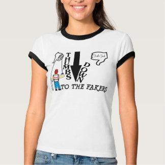 De los pulgares camiseta del campanero abajo playeras