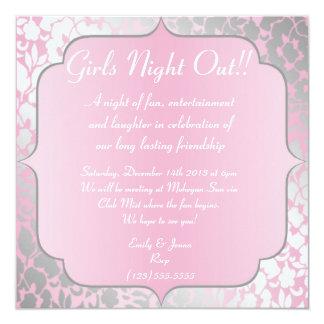 """De los rosas bebés de los chicas de la noche invitación 5.25"""" x 5.25"""""""