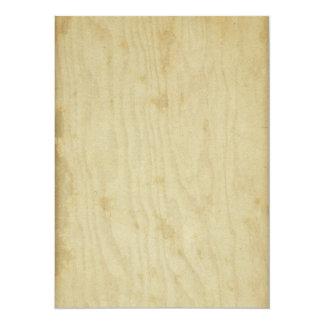 """De madera manchada papel envejecida vintage en invitación 5.5"""" x 7.5"""""""