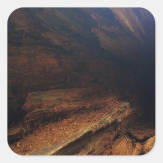 De madera pegatina cuadrada