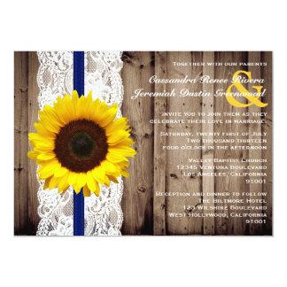 """De madera rústico y cordón con el boda del girasol invitación 5"""" x 7"""""""