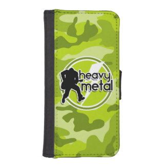 De metales pesados; camo verde claro, camuflaje fundas tipo cartera para iPhone 5