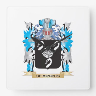 De-Michelis Coat of Arms - Family Crest Square Wall Clocks