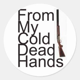 De mis manos muertas frías etiquetas redondas