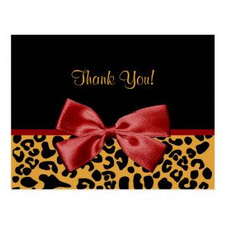 De moda gracias cinta negra y del rojo del leopard tarjetas postales