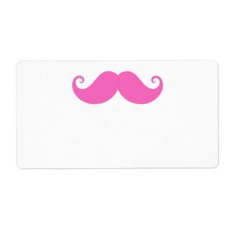 De moda lindo del bigote divertido rosado del mani etiqueta de envío