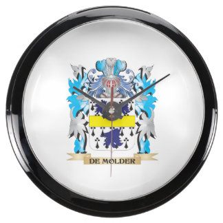De-Molder Coat of Arms - Family Crest Aqua Clocks