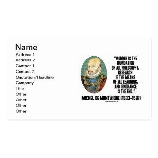 de Montaigne Wonder Foundation Philosophy Quote Business Card