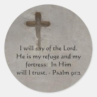 De motivación. 91:2 del salmo del verso de la pegatinas redondas
