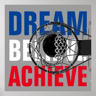 De motivación inspirados del juego de baloncesto póster