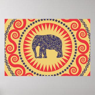 De muy buen gusto de Vinatge del elefante del dama Póster