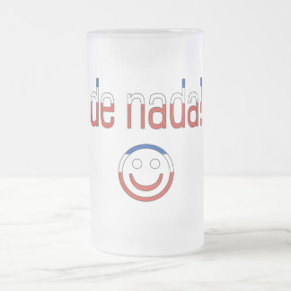 De Nada! Chile Flag Colors 16 Oz Frosted Glass Beer Mug