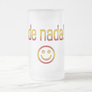 De Nada! Spain Flag Colors Frosted Glass Beer Mug