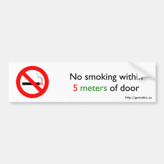 De no fumadores a 5 metros de la puerta pegatina de parachoque