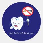 De no fumadores - sus dientes le agradecerán los etiquetas redondas