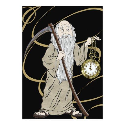De Noche Vieja el tiempo del padre y su reloj Invitación 12,7 X 17,8 Cm