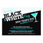 De Noche Vieja las invitaciones blancos y negros Comunicados