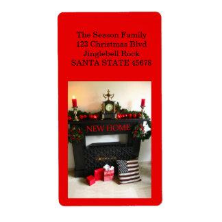 De nuestra nueva chimenea casera del navidad etiqueta de envío