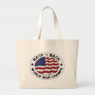 De nuevo a campeones traseros de la guerra mundial bolsa de tela grande