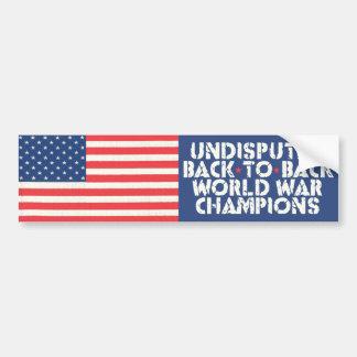 De nuevo a campeones traseros de la guerra mundial pegatina de parachoque