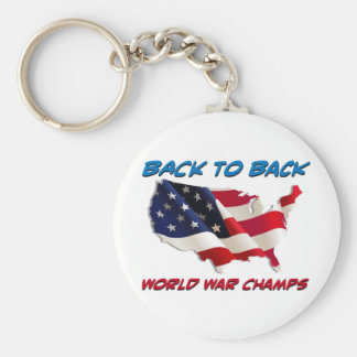 De nuevo a campeones traseros de la guerra mundial llavero personalizado