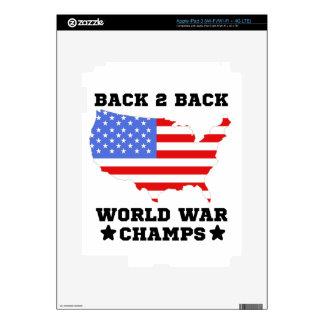 De nuevo a campeones traseros de la guerra mundial pegatinas skins para iPad 3