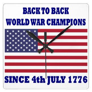 de nuevo a campeones traseros de la guerra mundial reloj cuadrado