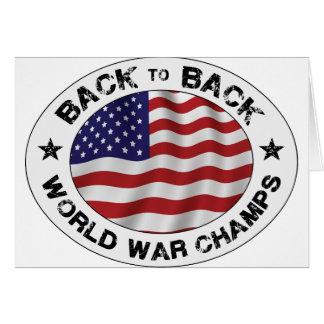 De nuevo a campeones traseros de la guerra mundial tarjeta de felicitación