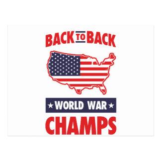 De nuevo a campeones traseros de la guerra mundial tarjeta postal