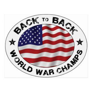 De nuevo a campeones traseros de la guerra mundial tarjetas postales