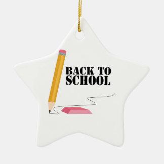 De nuevo a escuela adorno navideño de cerámica en forma de estrella