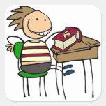 De nuevo a escuela - calcomanía cuadradas