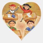 De nuevo a escuela - calcomanía corazón personalizadas