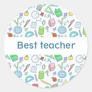 """De nuevo a escuela: Pegatina del """"mejor profesor"""""""