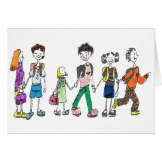 De nuevo a escuela - tarjeta de felicitación
