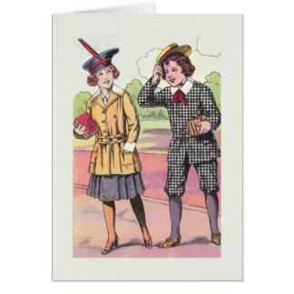 De nuevo a estudiantes del vintage de la tarjeta d