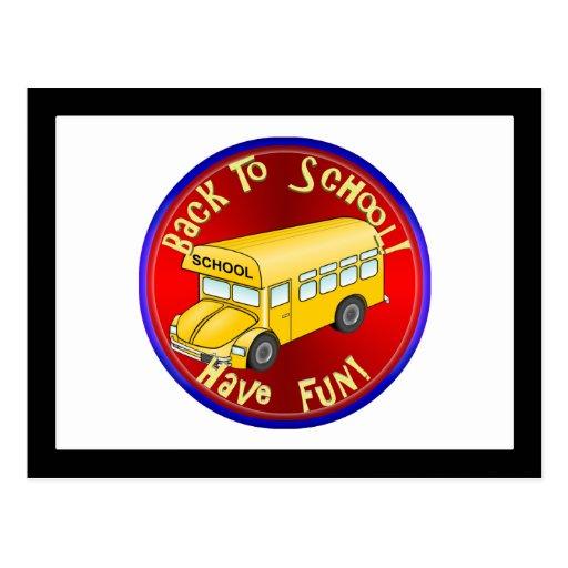 De nuevo a la diversión del autobús escolar tarjetas postales