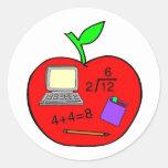De nuevo a la escuela Apple Pegatina Redonda