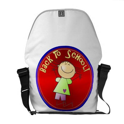 De nuevo a la escuela - chica feliz (2) bolsa de mensajeria