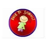 De nuevo a la escuela - chica feliz (2) plantilla de tarjeta personal