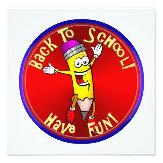 """¡De nuevo a la escuela - diversión feliz del Invitación 5.25"""" X 5.25"""""""