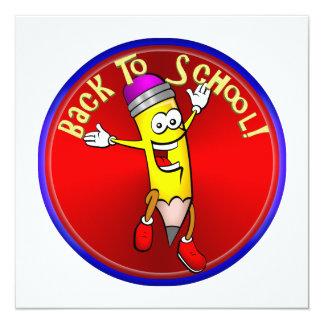 """De nuevo a la escuela - lápiz feliz invitación 5.25"""" x 5.25"""""""