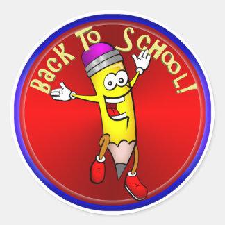 De nuevo a la escuela - lápiz feliz pegatina redonda