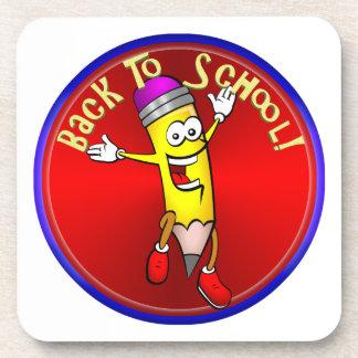 De nuevo a la escuela - lápiz feliz posavasos