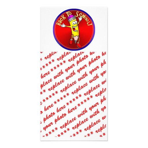 De nuevo a la escuela - lápiz feliz tarjetas fotograficas