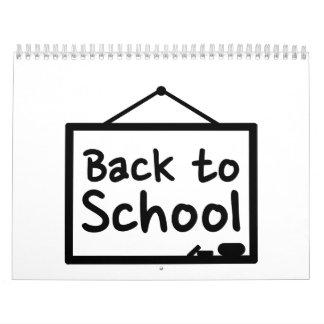 De nuevo a la pizarra de la escuela calendario de pared