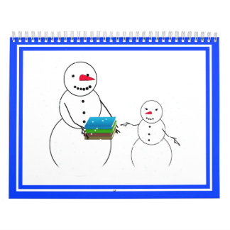 De nuevo a los muñecos de nieve de la escuela calendario de pared