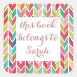De nuevo a los pegatinas del libro del nombre de pegatinas cuadradases